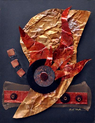 """""""plummet"""" mixed media in shadow box frame © lynne medsker"""