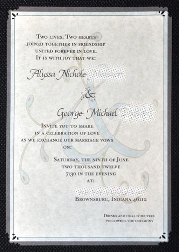 wedding invite, close up © lynne medsker