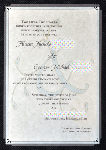 wedding invite, close up © lynne medsker