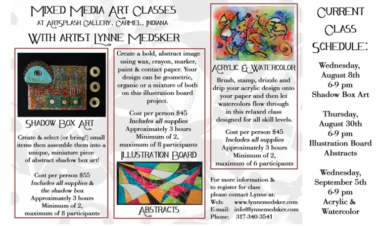 mixed media class flyer with Lynne Medsker