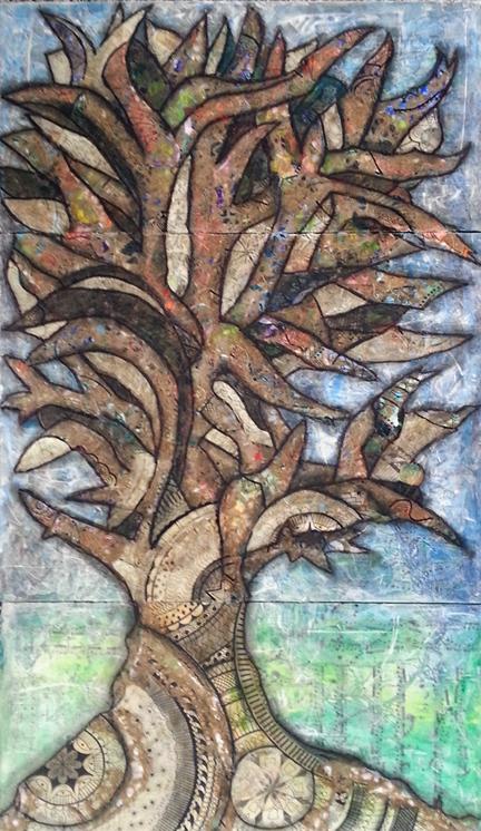 """""""Fruition"""" Mixed Media Collage on Wood Panels, 26 x 20"""" $595 (c) Lynne Medsker"""