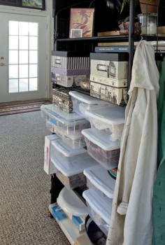 five-tier shelf and organized storage