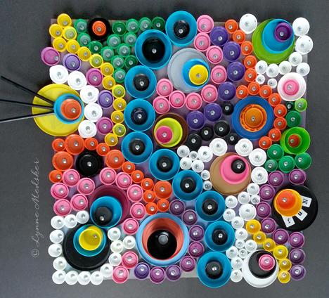 """""""Fun"""" 24x24"""" mixed media art on wood © 2013, Lynne Medsker"""