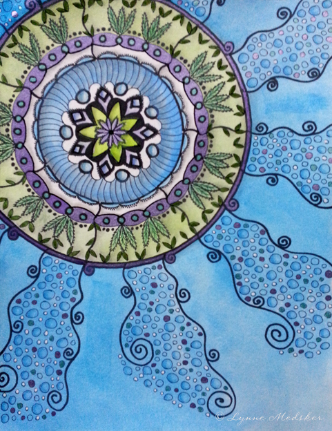 """Thrive"" mixed media (marker, graphite, pastel, watercolor & ink) on watercolor paper, 9x12"" $195 (unframed) © 2013, Lynne Medsker"
