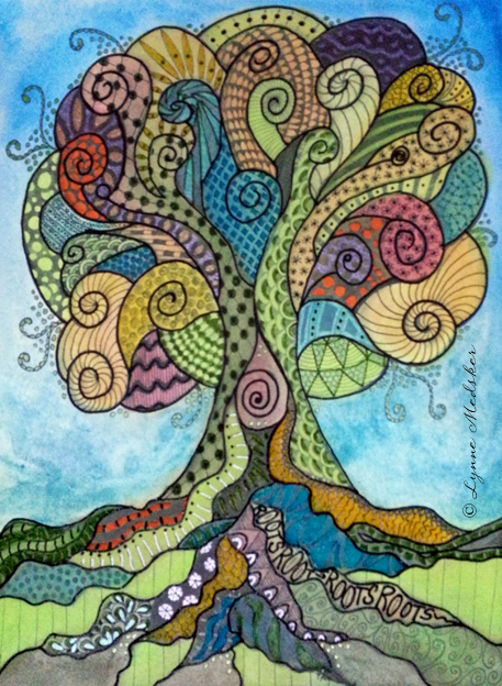 """Flourish"" mixed media (marker, graphite, watercolor, ink) on watercolor paper, 9x12"" $375 (framed) © 2013, Lynne Medsker"