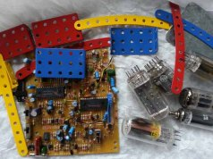 electronic parts, assorted metal pieces