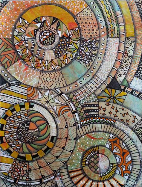 """""""Spin"""" mixed media (marker, graphite, charcoal, ink) on hand-colored paper, 9x12"""" $175 (unframed)  © 2013, Lynne Medsker"""