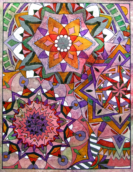 """Intersections"" mixed media mandala inspired art (marker, watercolor & ink on watercolor paper) © Lynne Medsker"