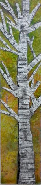 """""""Aspen"""" Mixed Media on Wood Panel, 4x18"""" © Lynne Medsker"""