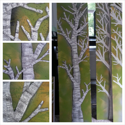 Work in Progress, mixed media on panels