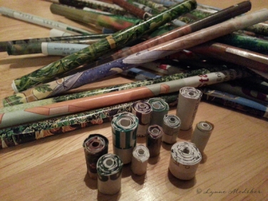 Rolled magazine pages