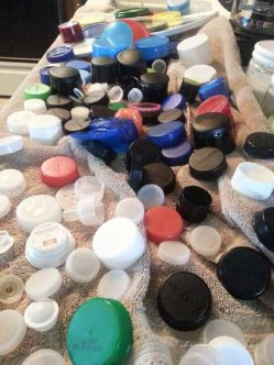 Assorted caps after washing