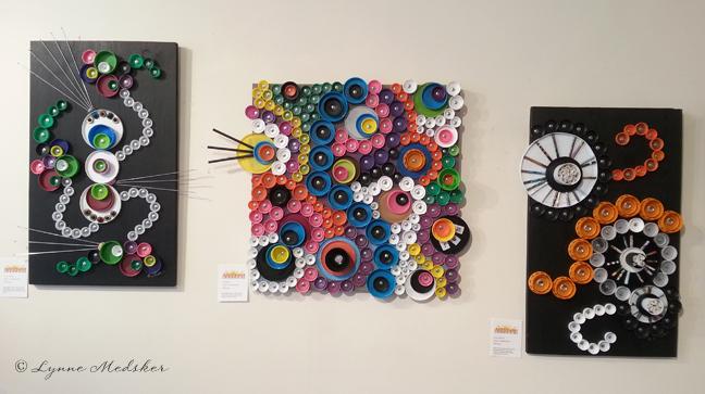 Trio of artwork hung together © Lynne Medsker