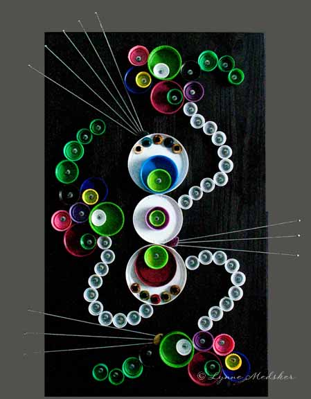 """Carouse"" mixed media upcycled/recycled artwork on 24x30"" wood panel © Lynne Medsker"