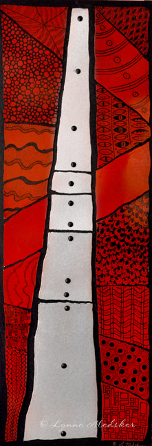 """Corridor"" 12x36"" repurposed metal on wood panel with paint & decorative nails, $595 © Lynne Medsker"