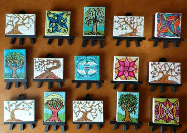 Tiny Canvases, Tiny Easels © Lynne Medsker