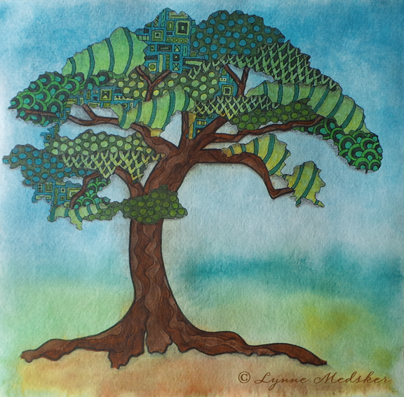 """Bonsai One"" marker, ink & watercolor on 12x12"" watercolor paper, $175 unframed/$350 framed © Lynne Medsker"