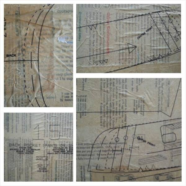 A layer of sewing patterns added to the background © Lynne Medsker