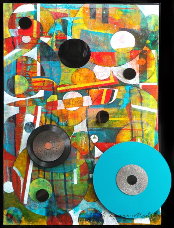 """""""Backbeat #4"""" mixed media on 24x36"""" wood panel © Lynne Medsker"""