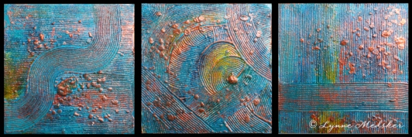 """Journey #1-#3"" mixed media on wood panels © Lynne Medsker"