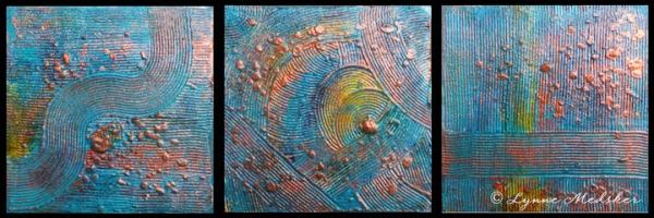 """Journey #1-#3"" mixed media on wood panels © Lynne Medsker"