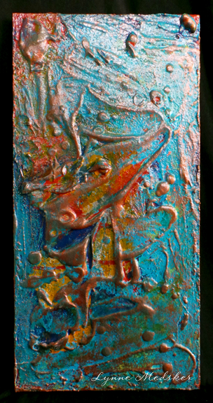 """Sideroads"" mixed media on wood panel, 10x20"" © Lynne Medsker"