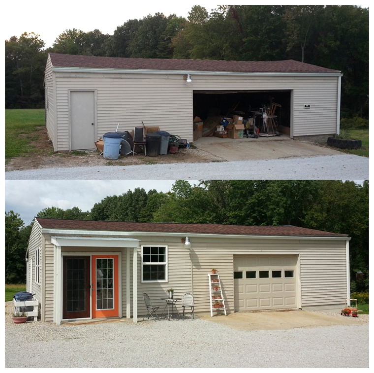 Garage to studio, before & after