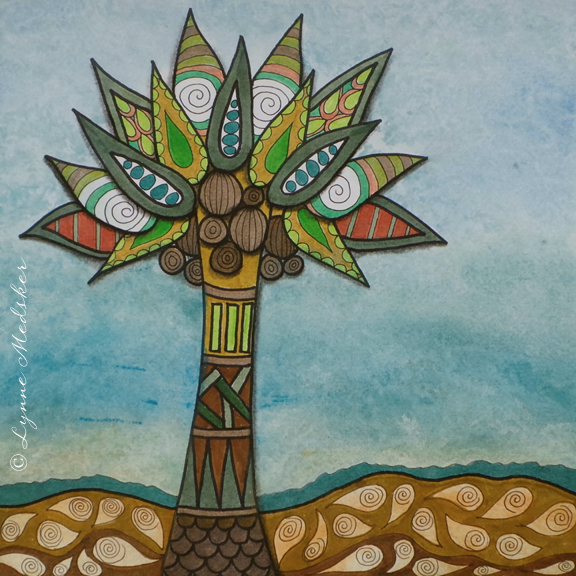 """Tropical Tree"" mixed media (marker, watercolor, ink) on watercolor paper, 12x12"" © Lynne Medsker"