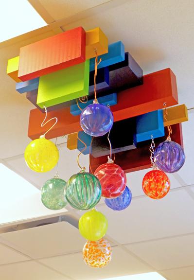 """""""Diversify"""" Mixed media ceiling sculpture © Lynne Medsker"""