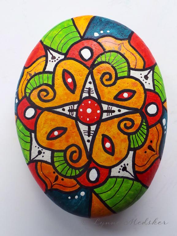 mandala painted stone © Lynne Medsker