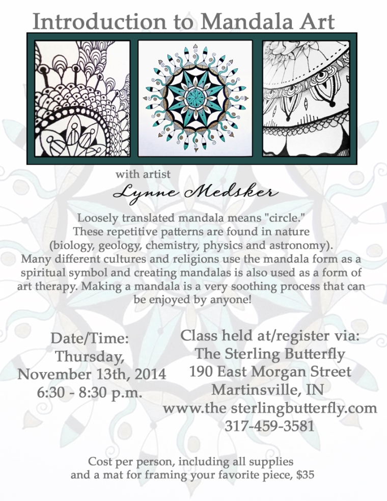 Mandala Class, Nov 14 Sterling Butterfly