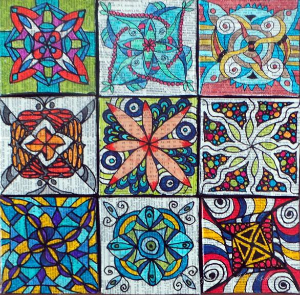 """Tiny Mandala Art (3x3"""") with small easels © Lynne Medsker"""