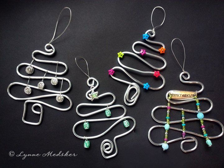 Sculpted Wire Tree Ornaments, various embellishments