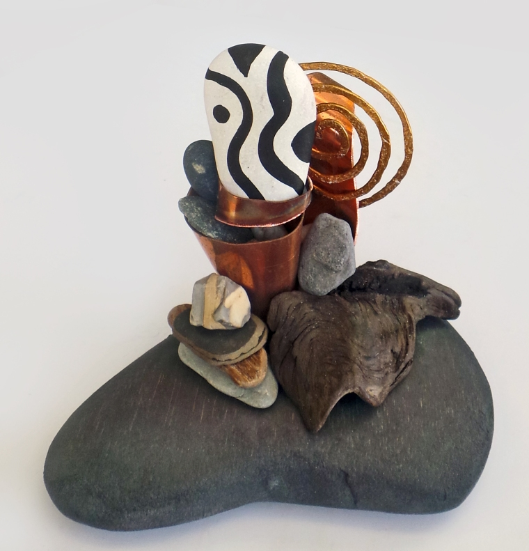 """Serendipity"" mixed media sculpture (wood, stones, driftwood, copper, hammered wire)  6x6x5"" $250 © Lynne Medsker"