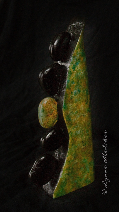 """Deviate"" mixed media (wood, stones, ink) sculpture. 5x12"" $245 © Lynne Medsker"