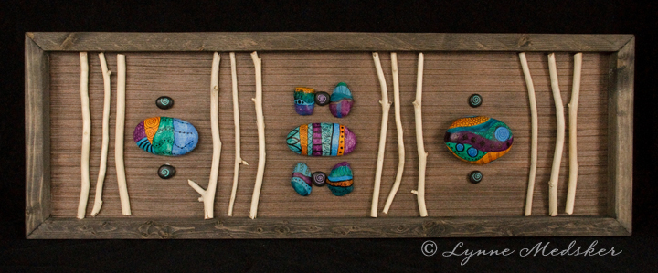"""Sticks & Stones"" Mixed media (stones, driftwood) on 24x8"" wood panel $375 © Lynne Medsker"