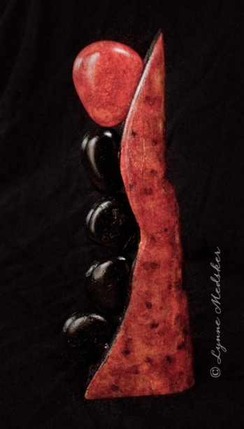 """Tango"" mixed media (wood, stones, ink) sculpture. 5x12"" $245 © Lynne Medsker"