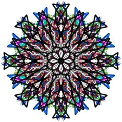 "Digital Mandala 18, matted & framed in a 12x12"" black wood frame"