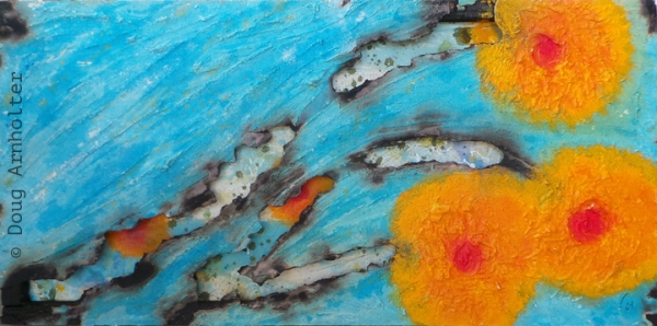 """Azul Laranja"" mixed media/fresco art © Doug Arnholter"