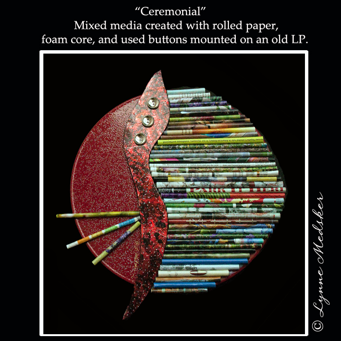 """Ceremonial"" mixed media on an old LP © Lynne Medsker"