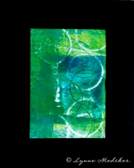 """Greens"" mixed media, printmaking, matted and ready to frame in an 8x10"" frame (not included) © Lynne Medsker"