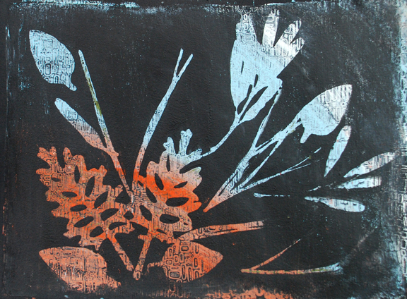 """Growth"" mono print, framed to 11x14"" in black metal frame © Lynne Medsker"