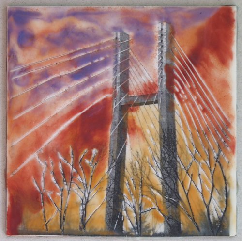 """Crossing"" encaustic and photography, in black 17x7"" frame © Lynne Medsker"