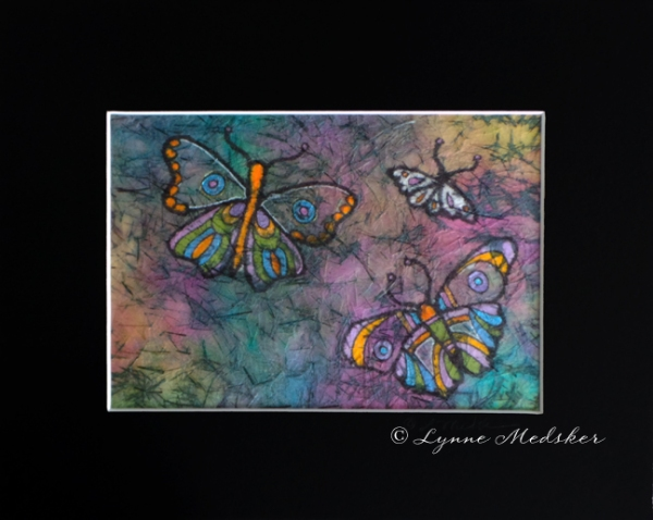 blog batik orange and purple butterflies © Lynne Medsker