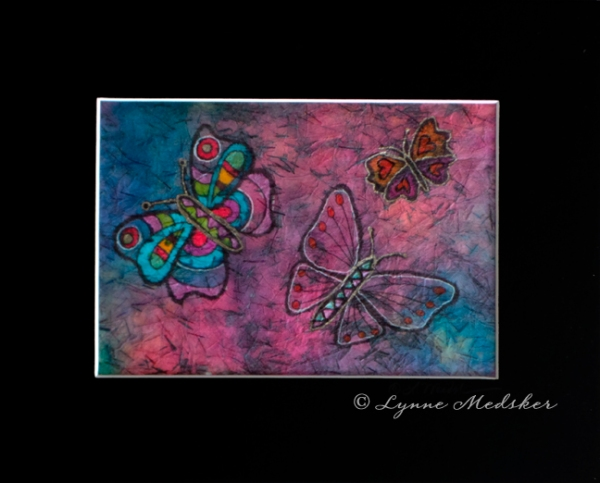 blog batik pink and blue butterflies © Lynne Medsker