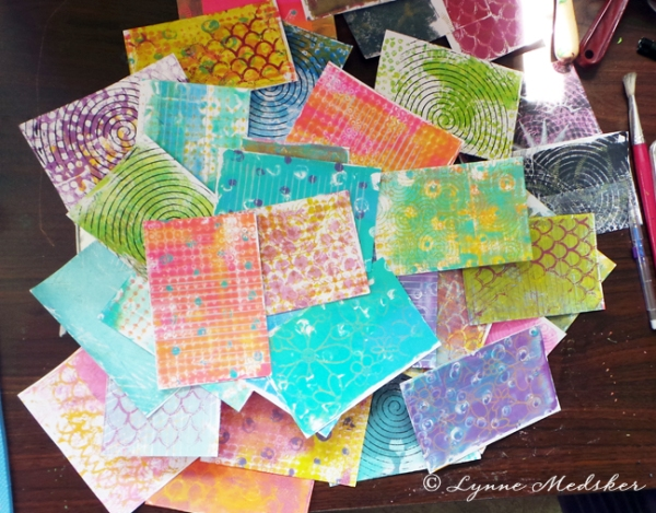 gelli printed index cards