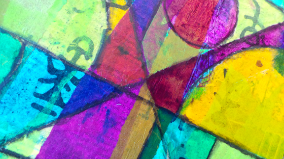 Close-up detail of surface after acrylic ink was applied