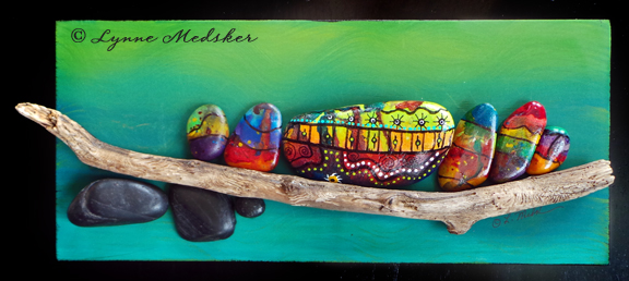 "Final design of ""Simpatico"" mixed media art on 12x5"" panel"